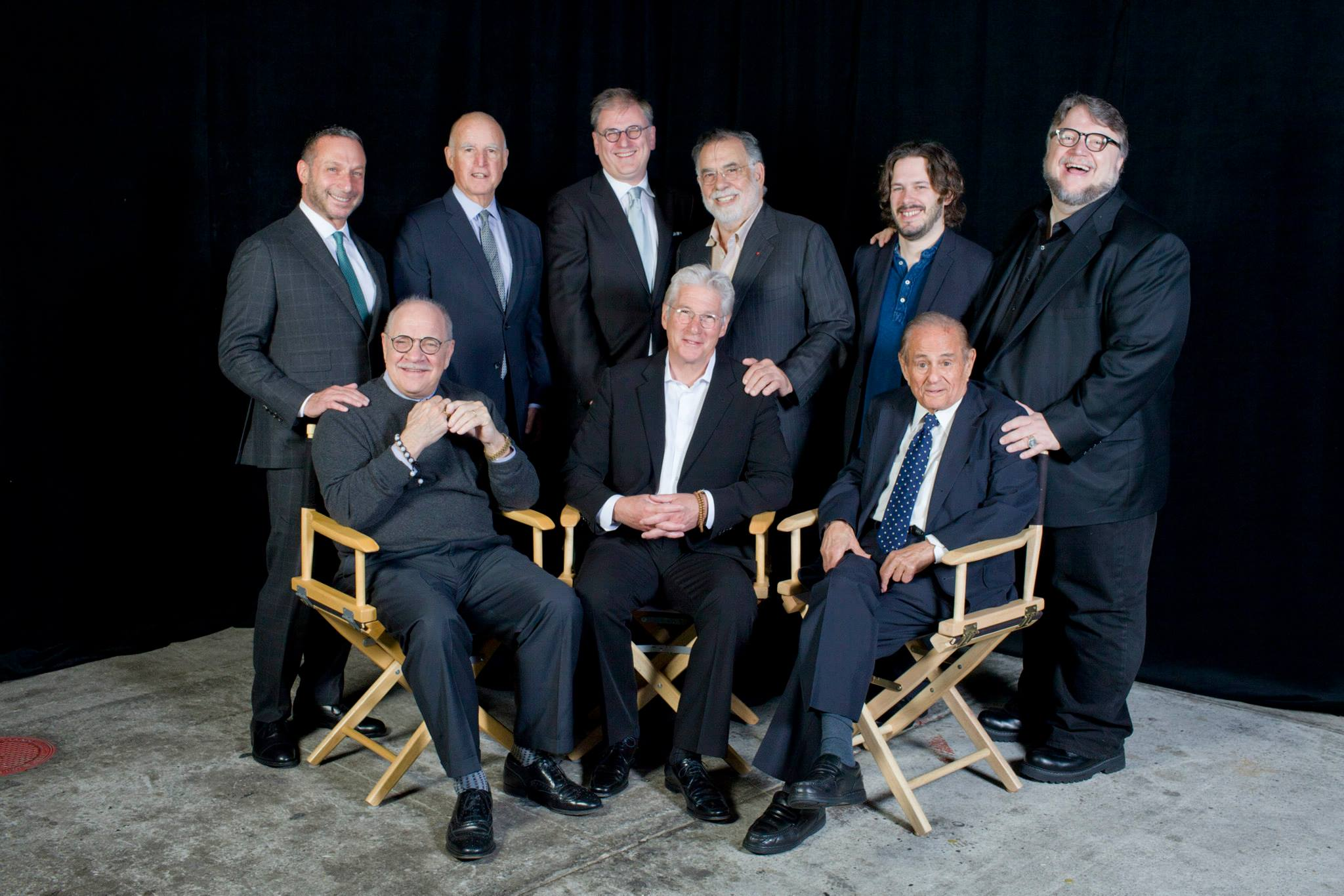 Presenters and awardees at Film Society Awards Night; Clockwise from top left: presenter Alan Poul, presenter Governor Jerry Brown, SFFS Executive Director Noah Cowan, presenterFrancis Ford Coppola, presenter Edgar Wright, awardee Guillermo del Toro, awardee Maurice Kanbar, awardee Richard Gere and awardee Paul Schrader;Photo by Pamela Gentile