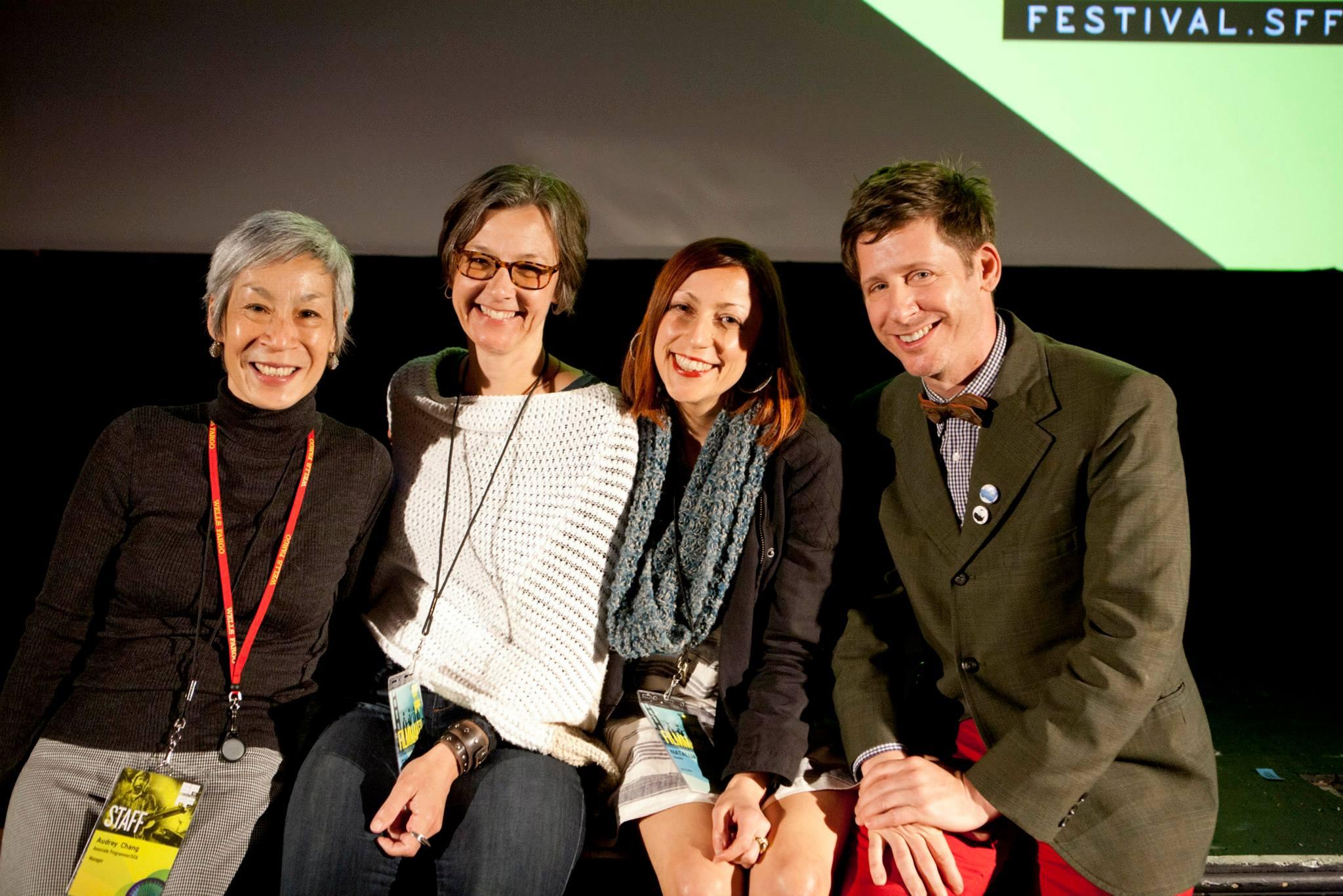 SFFS Associate Programmer Audrey Chang with filmmakers Gina Leibrecht, Natalija Vekic & Christian Bruno