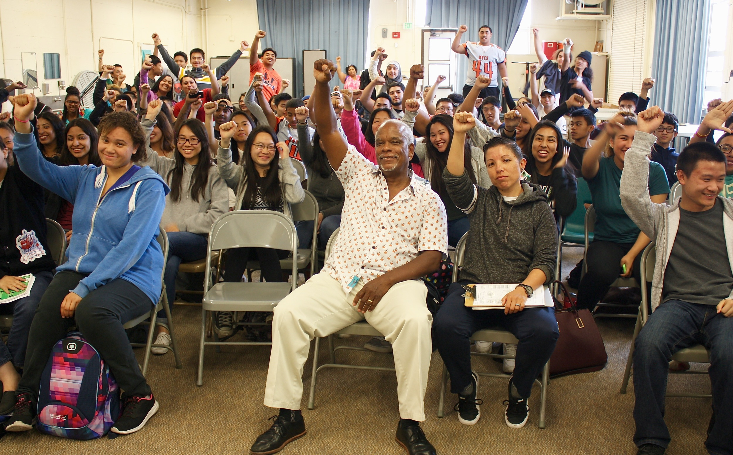 Director Stanley Nelson with students from Balboa High School