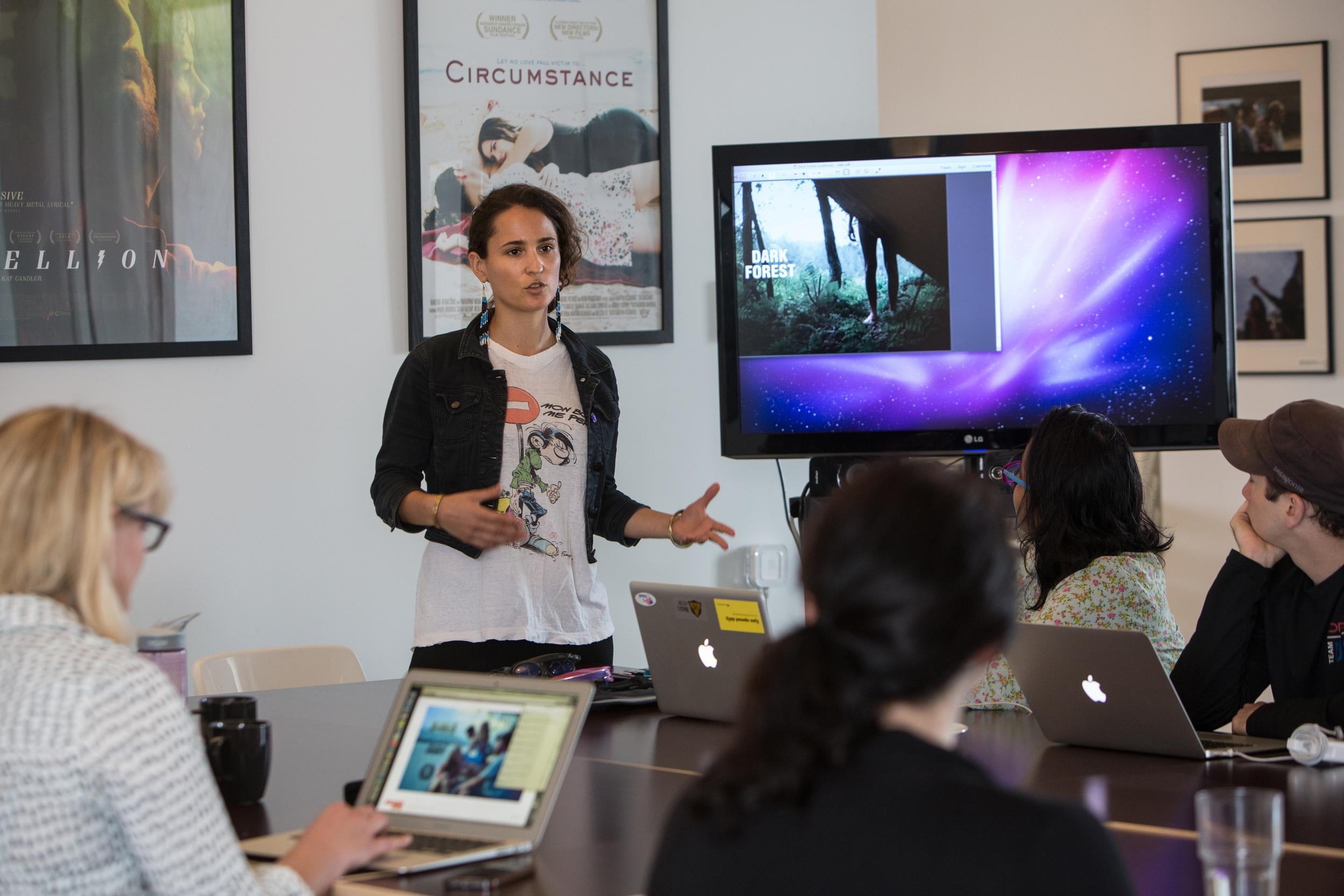Greenlee presenting on Dark Forest at FilmHouse
