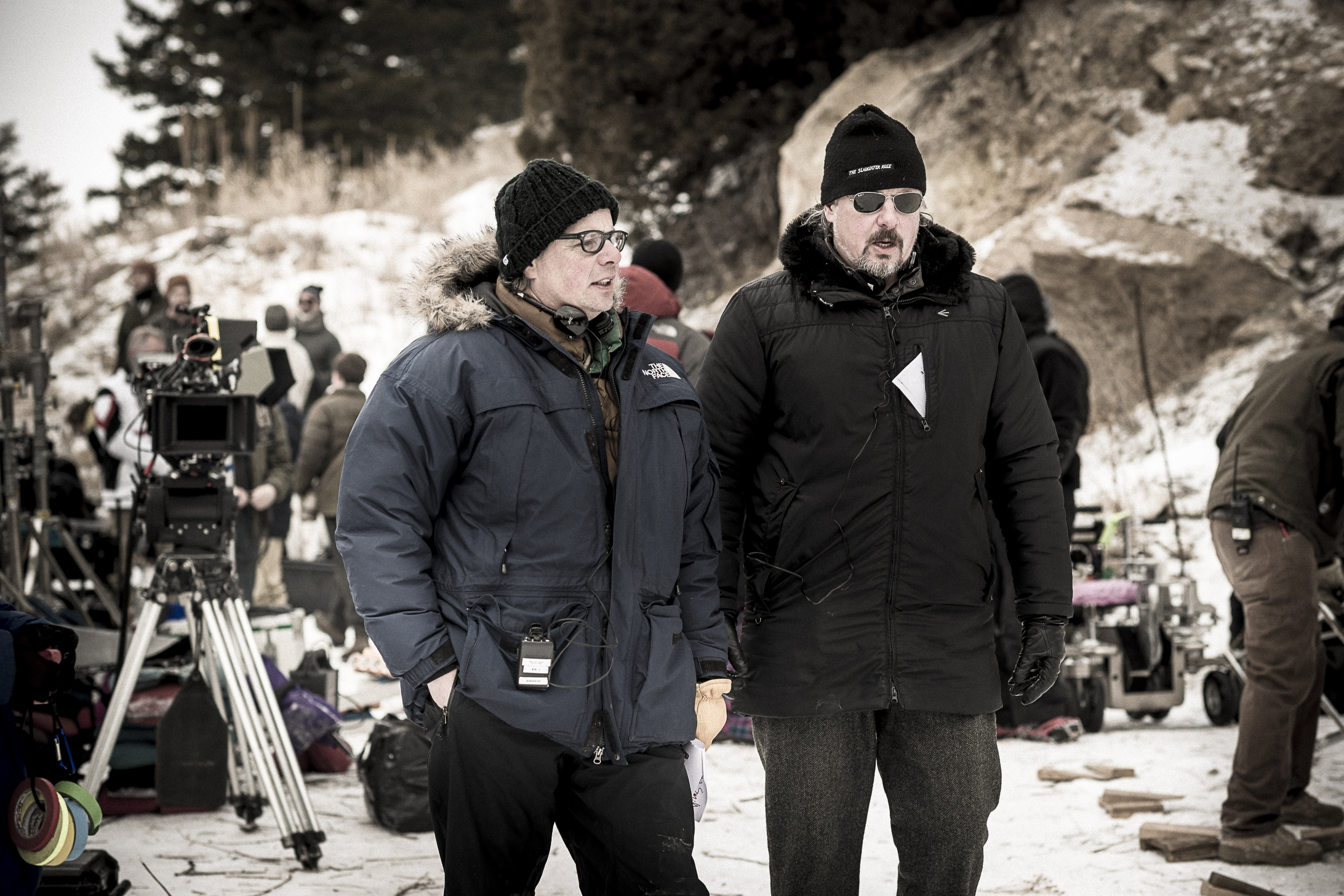 Filmmakers Andrew and Alex Smith on the set of Walking Out