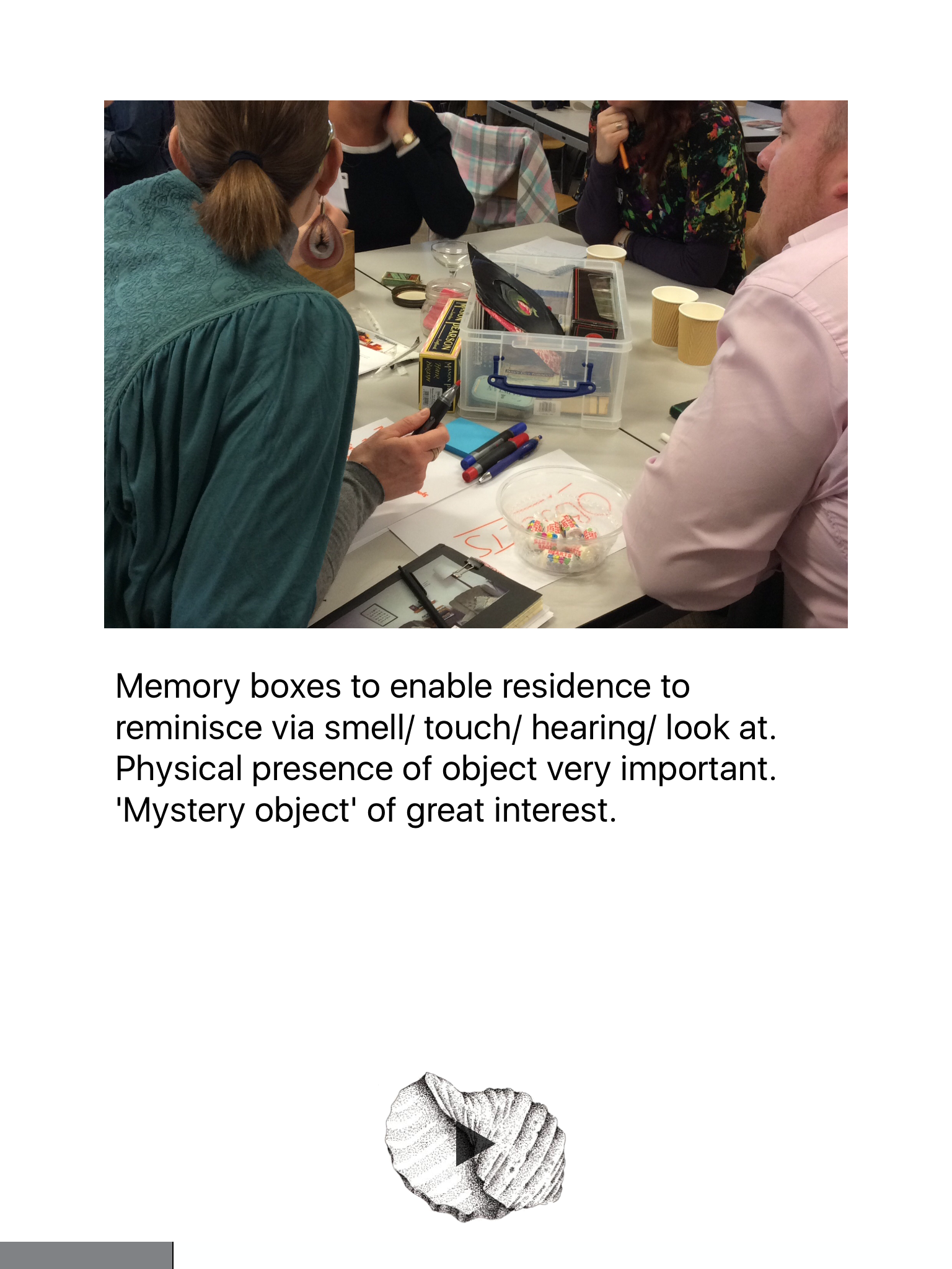 Image from objects discussion on the Tangible Memories App