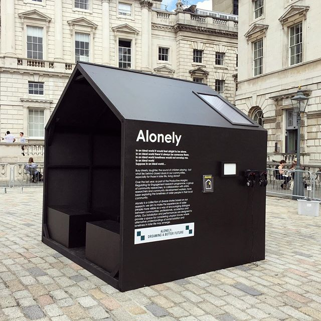 Our Alonley installation @somersethouse Utopia Fair 2016. The aim of the Alonley project was to make the experiences of older people more visible as a way of encouraging dialogue between communities, professionals, academics and artists. The installation and performances were designed to provide a space for considering utopian futures where alternative understandings of social isolation and loneliness in later life may emerge. During the fair visitors were invited into the space to watch and hear live monologues performed. On one wall was a space for visitors feedback, finishing the sentence 'Loneliness is...' #throwbackthursday #loneliness #installation