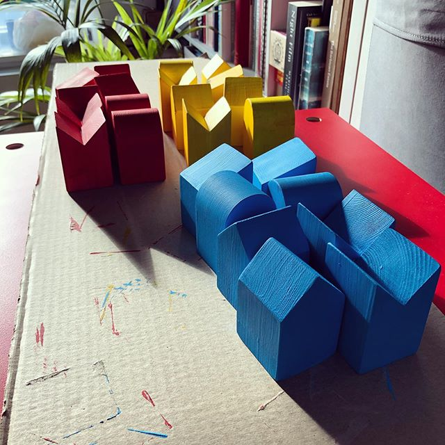 Painting coloured blocks for @hellobrigstow Jukebox