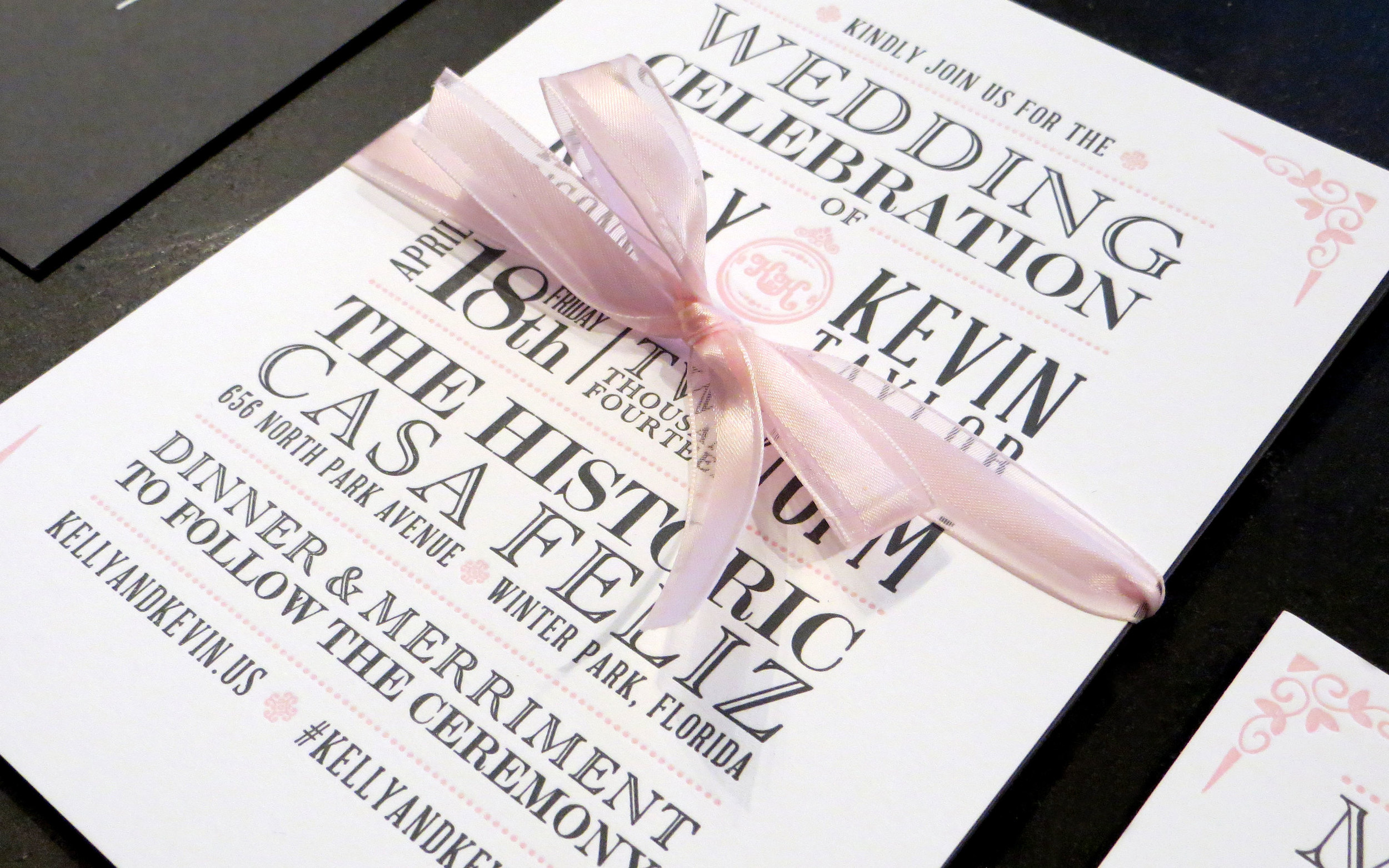 Invitation close-up with ribbon