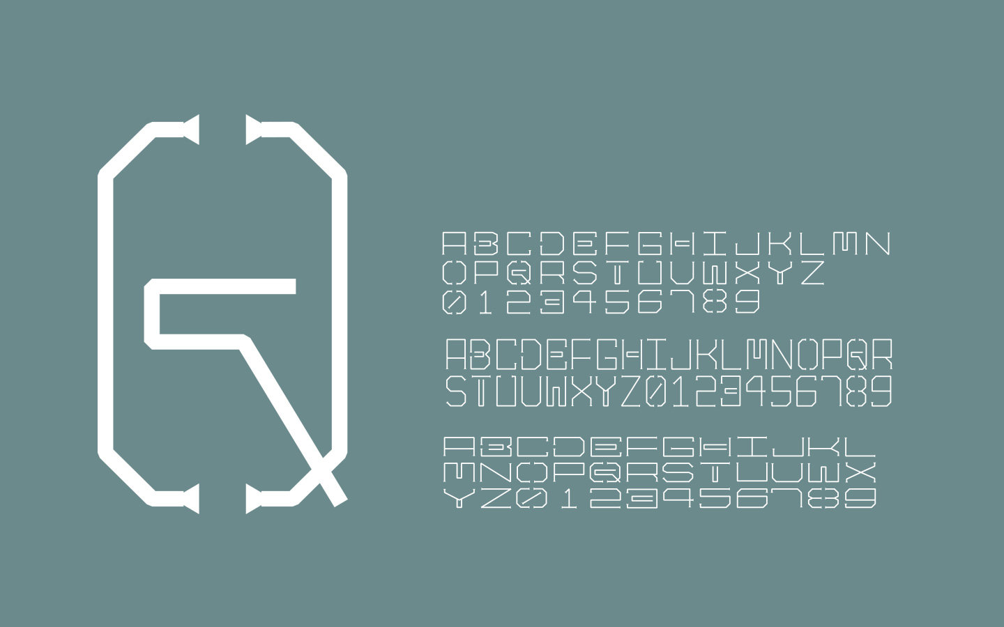 The secondary  'Trussed'   Typeface was was designed by emulating the string trussing   of charcuterie and salumi as it cures. Expanded into three complete weights by Kevin Taylor,   the face is used as both pattern, way finding and branding in the system.