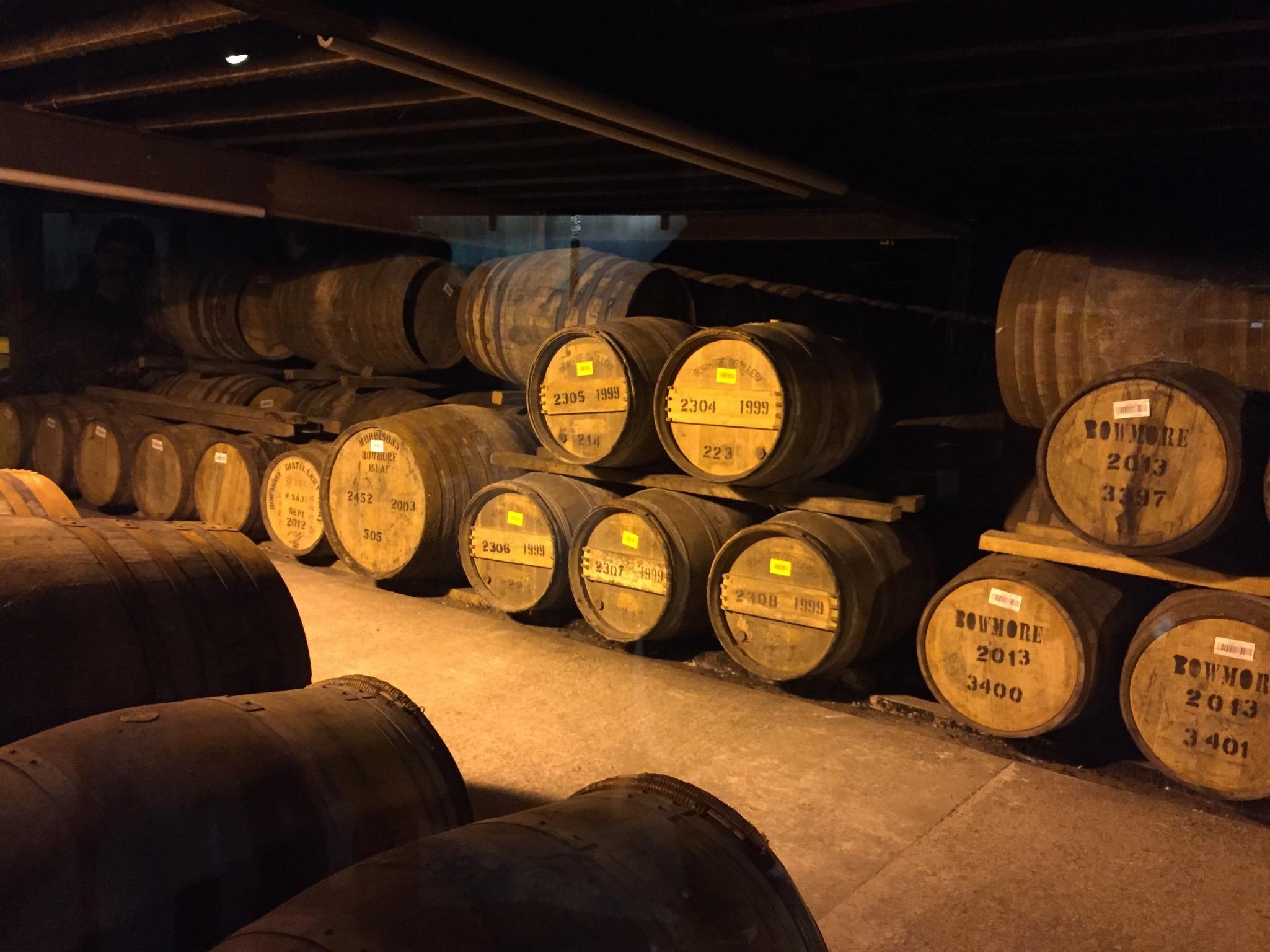 Barrels of Bowmore Scotch