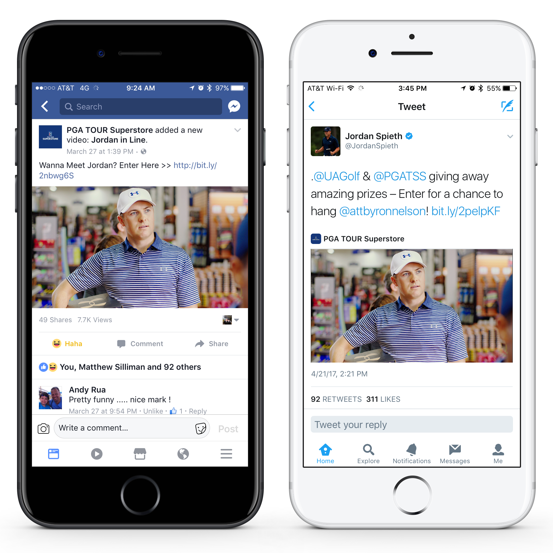PGA TOUR Superstore, Under Armour and Jordan Spieth social posts help spread the word about the online sweepstakes.