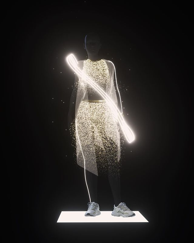 """Our last piece for """"The Future of Style"""" collaboration with @wearejam3 / @adidasoriginals, is set in 2079...The Pixel Dress  Created @wovecollective with @c0rsac"""