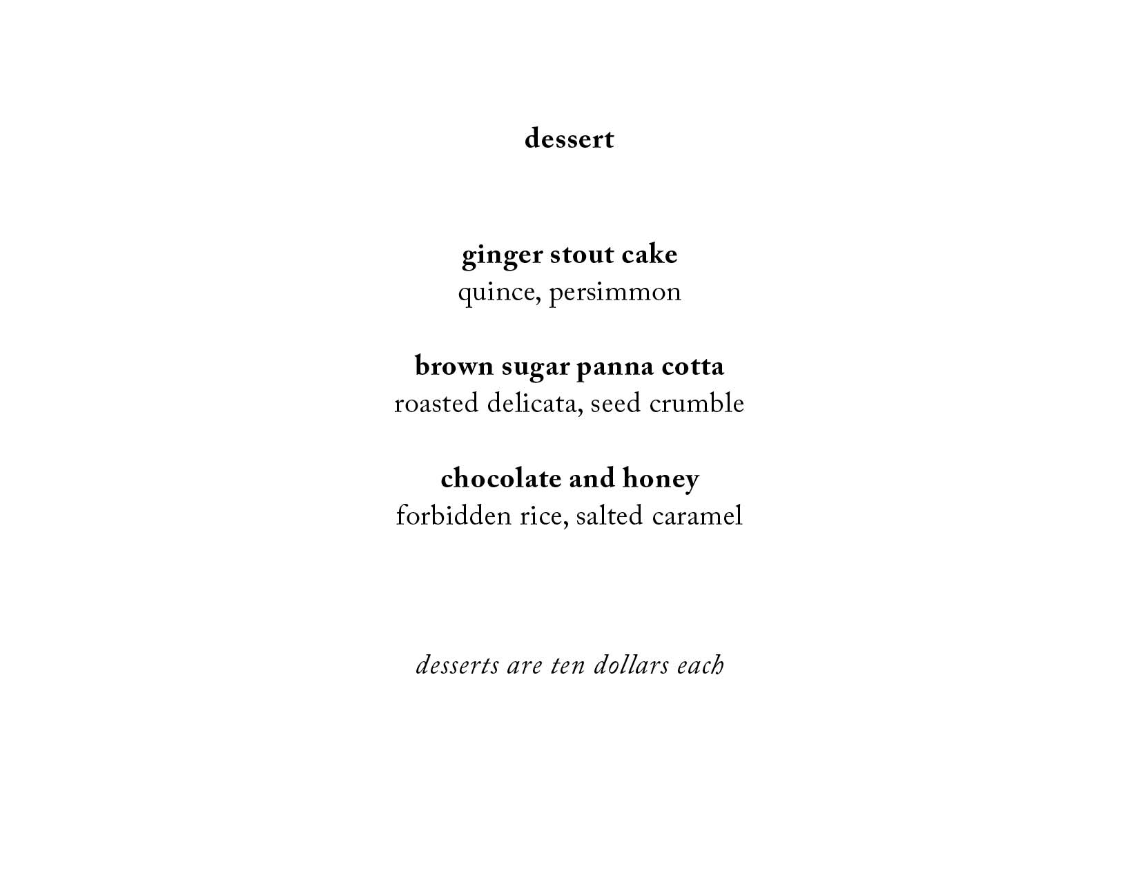 * please note that this is a sample menu