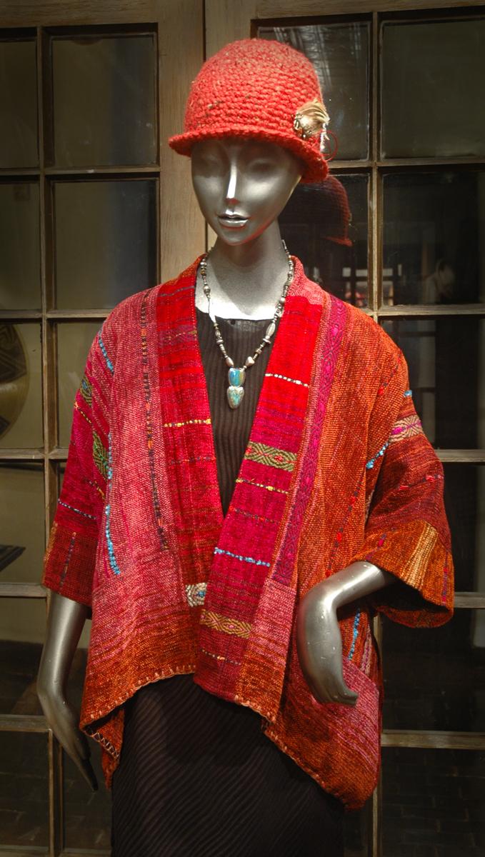 Bowler Hat - Richlyn McArthur  Long Kimono Kabuki, Rayon Chenille - Nancy Paap  Necklace -Richard Lindsay