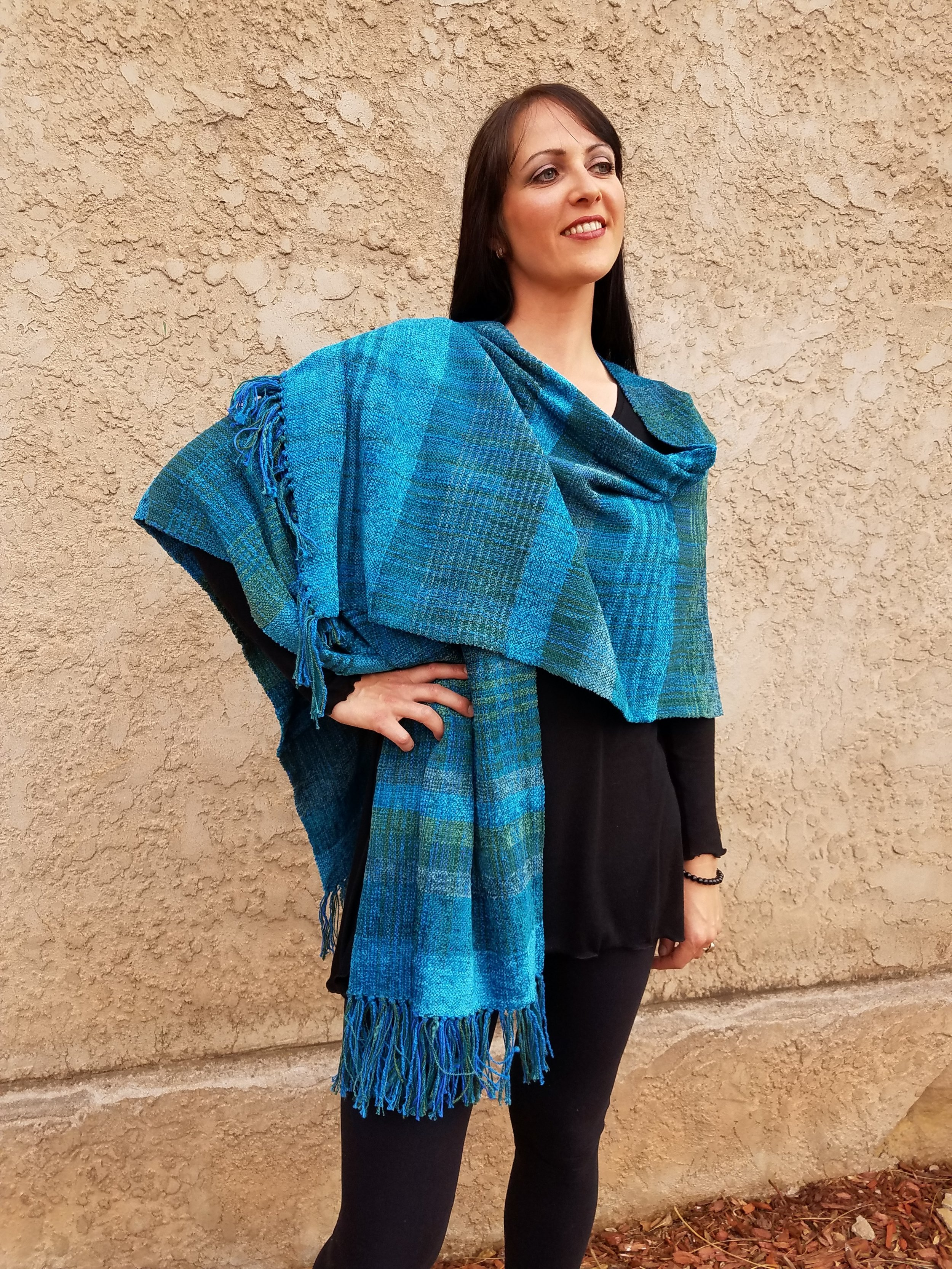 Turquoise Ruana by Ceil   $465