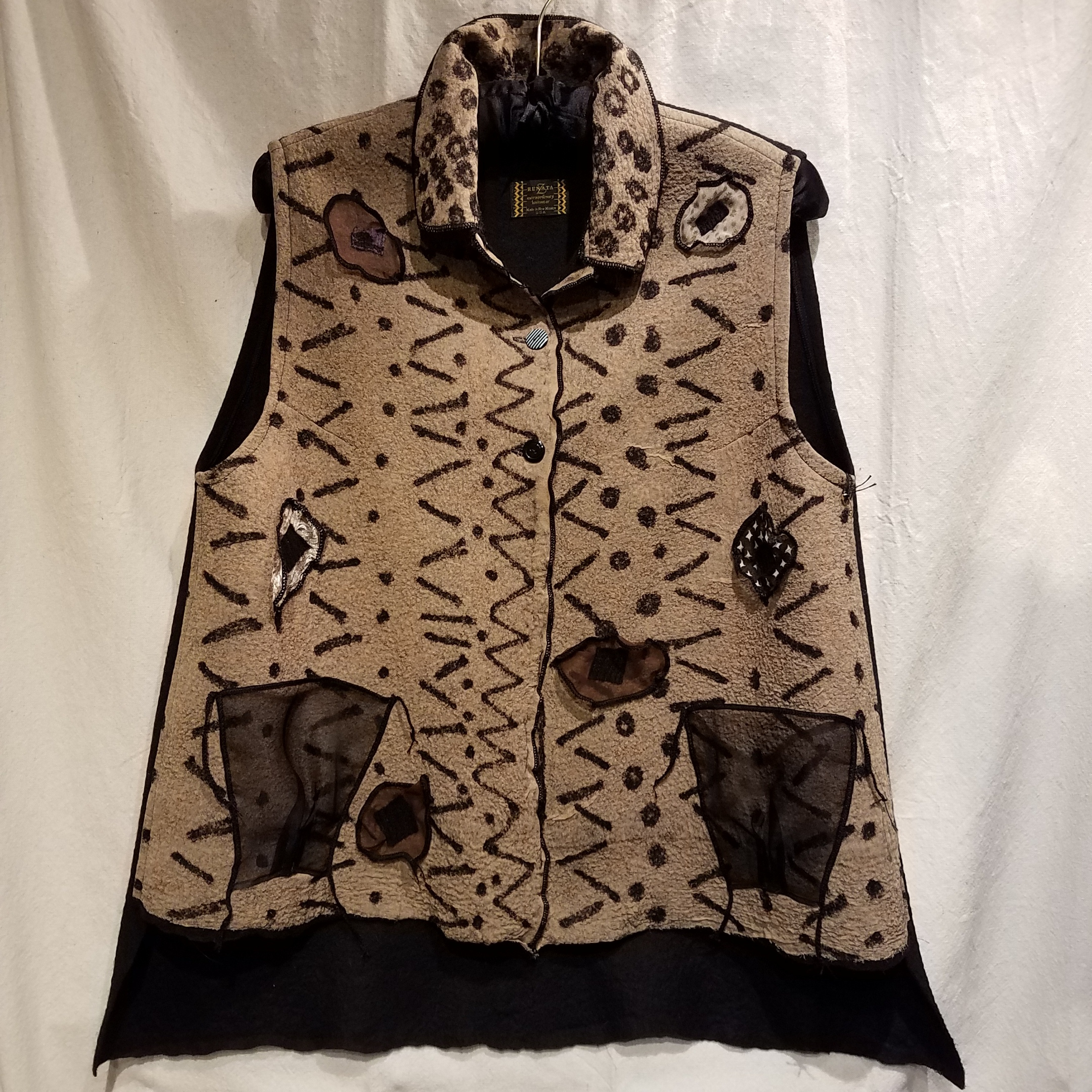 Felted Vest RZ 924 $480 Taupe/Blk