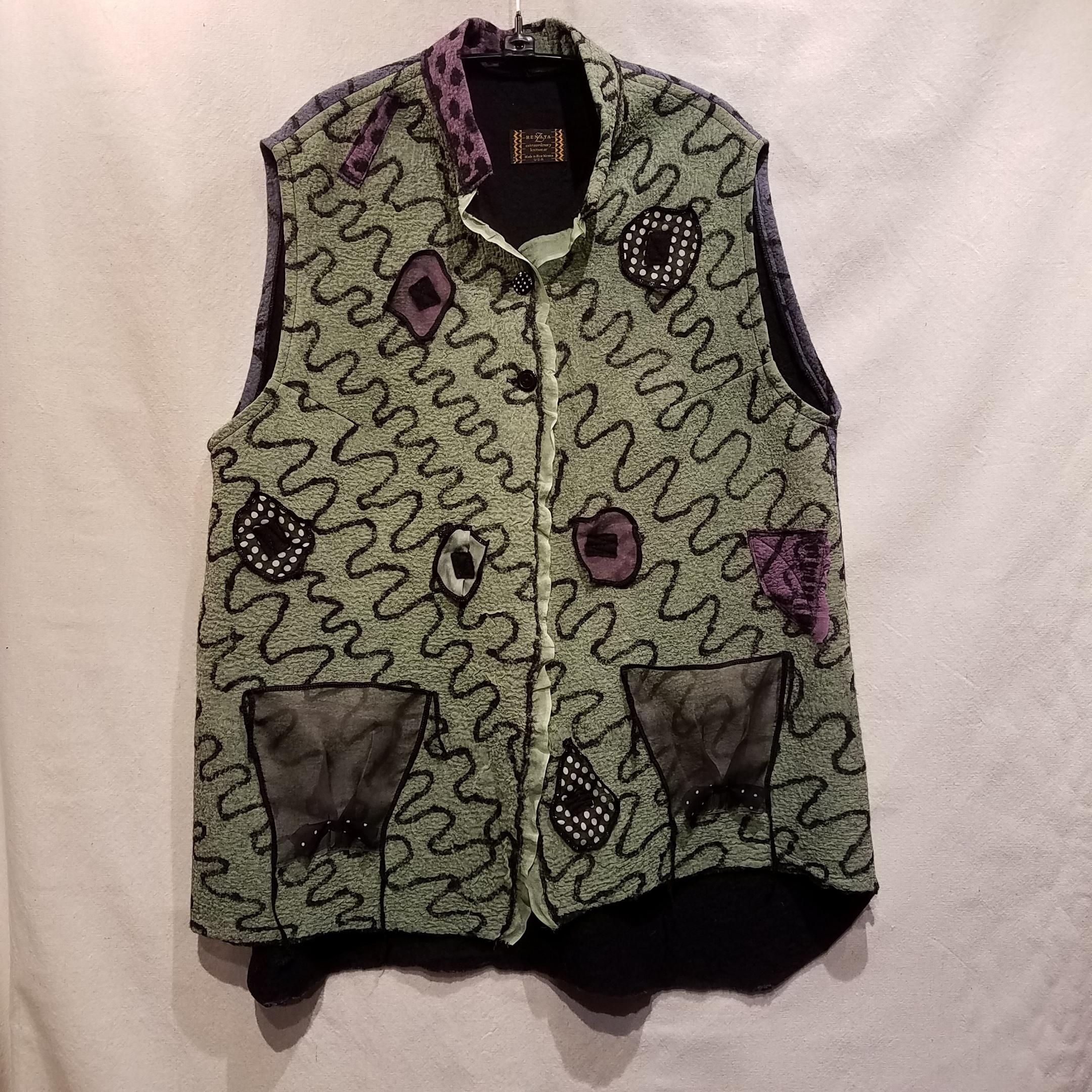Felted Vest RZ912 $485 Sage/Blue - SOLD