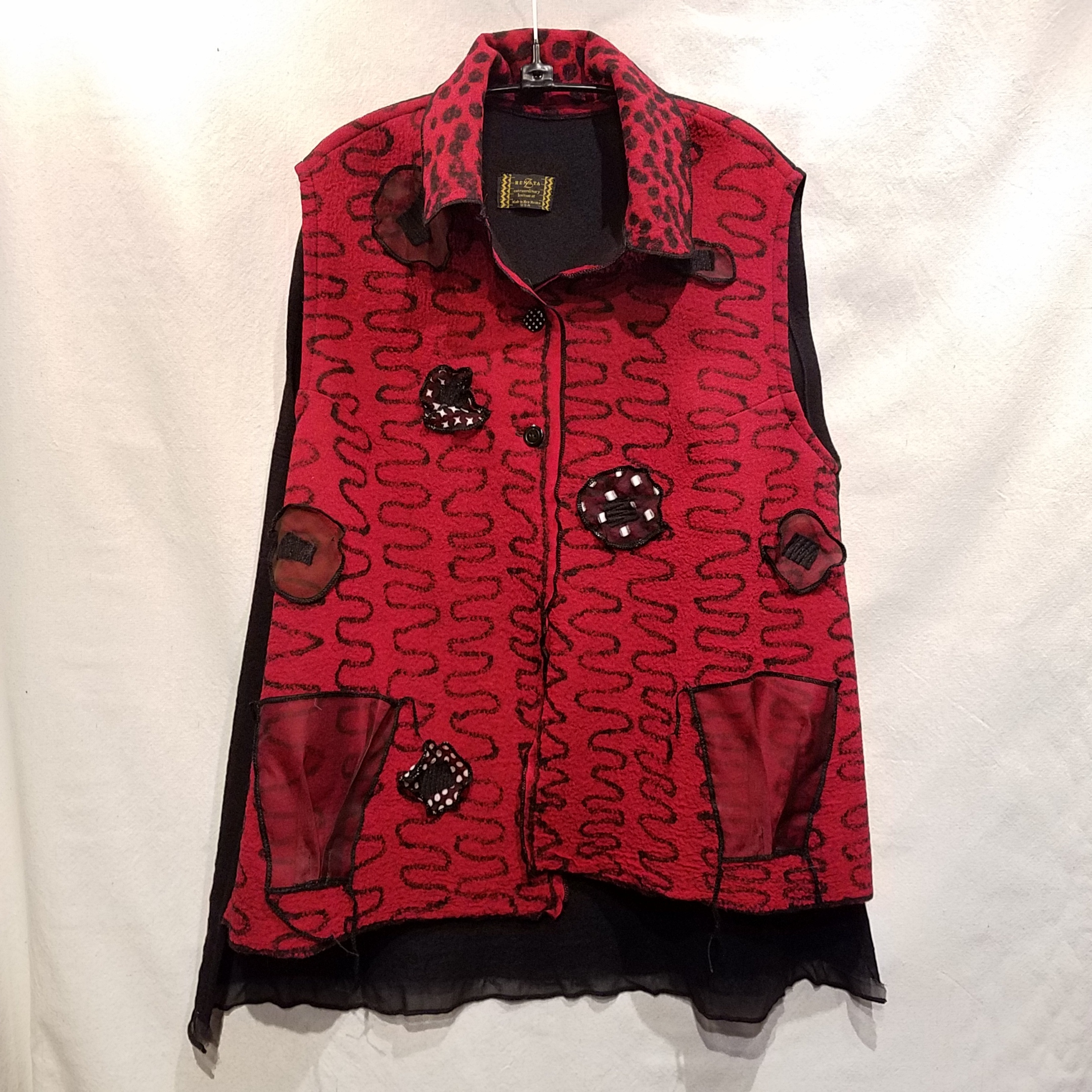 Felted Vest RZ923 $480 Red/black