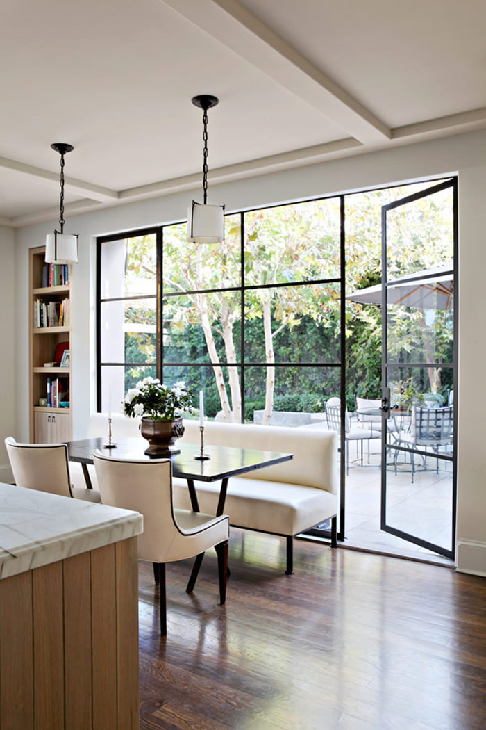 steel frame doors and windows by studio william hefner eat in kitchen