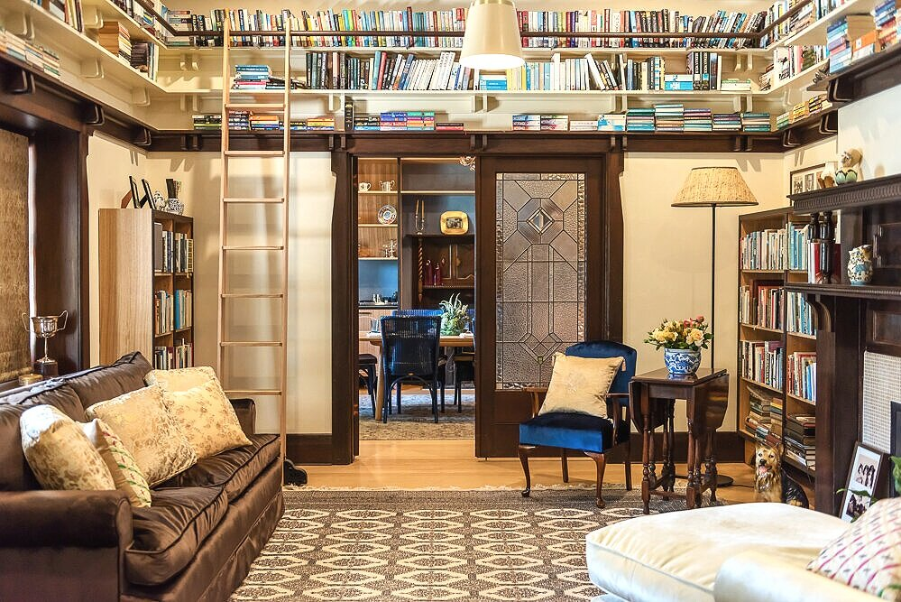 After: new book shelves + a sliding library ladder in the new Book Room