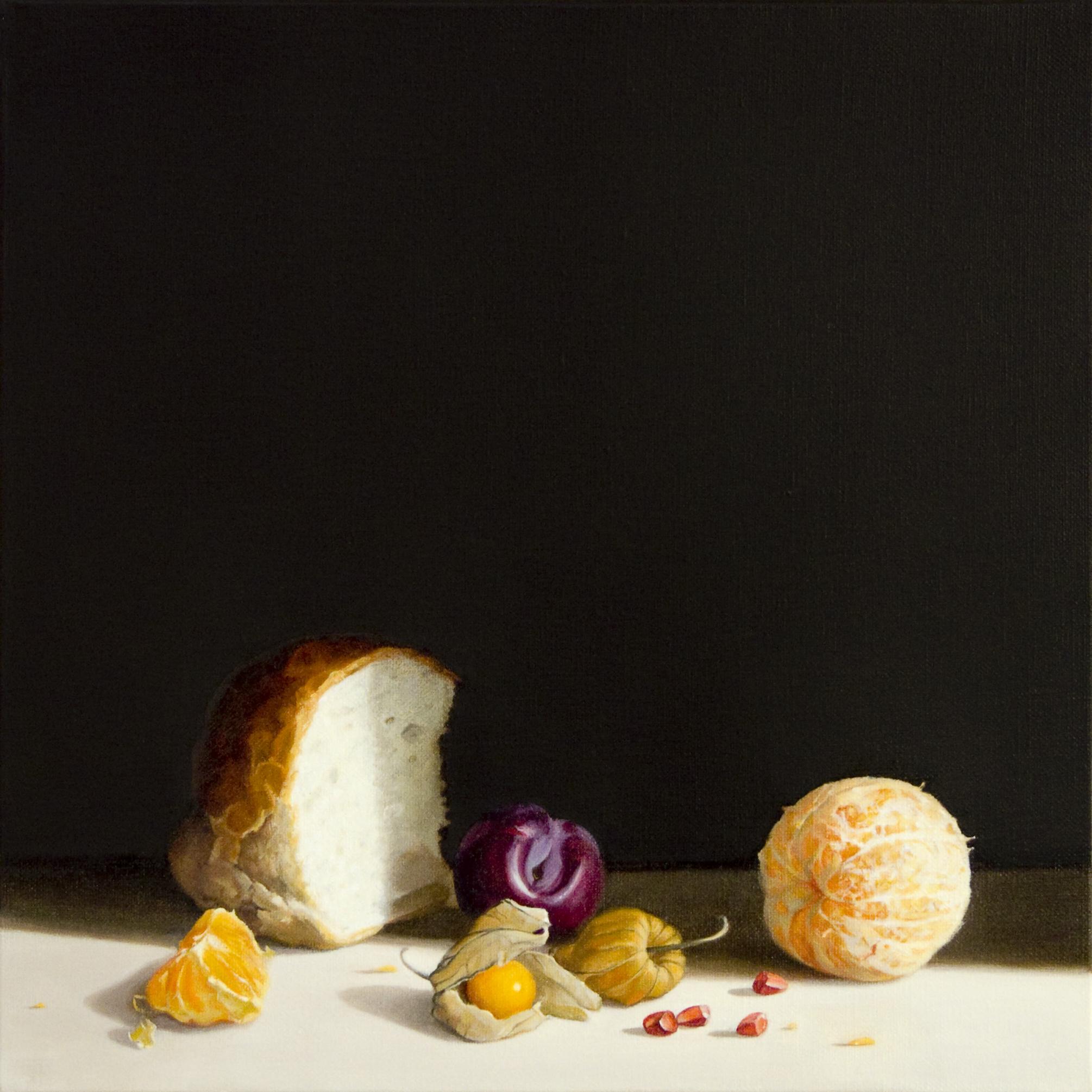 Bread and Orange, Oil on Linen, 40x40cm