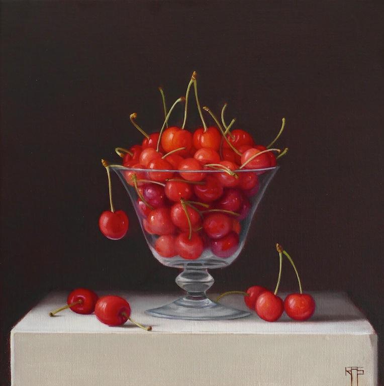 Young Cherries. Oil on linen. 30x30 cm