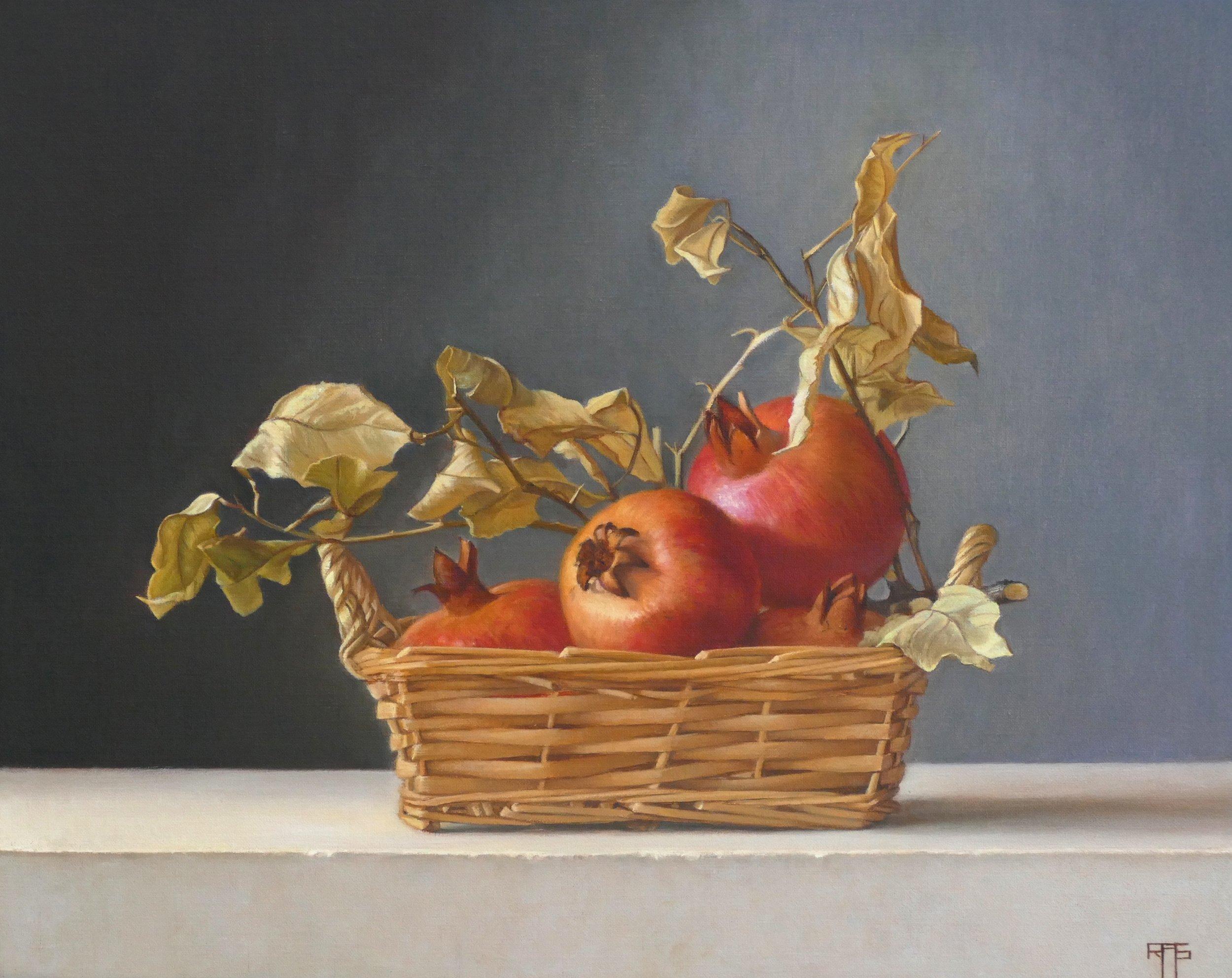 Pomegranates. Oil on Linen. 45x36 cm