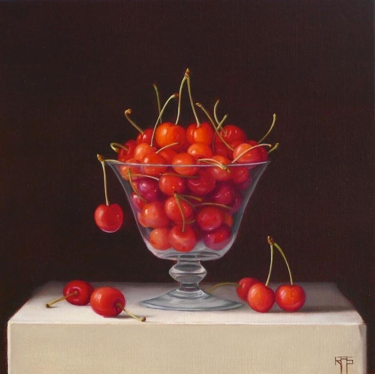 Cherries. Oil on linen. 30x30cm. 12x12 in