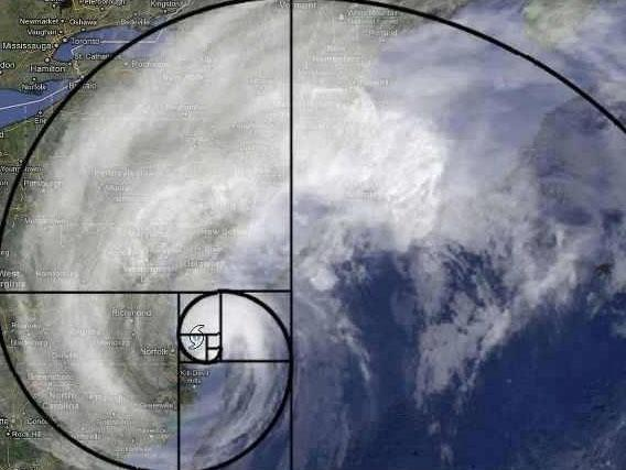 Hurricane Sandy with Fibonacci's Spiral Imposed