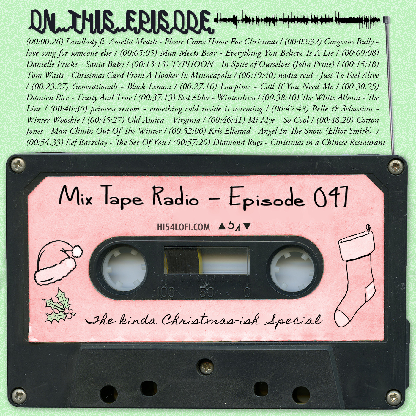 "As there is no escaping the jingles this times of year, I decided to give EPISODE 47 a little bit of a ""Jesus's Birthday"" vibe, albeit, more of a ""JC drinking eggnog, celebrating his birthday alone"" kind of vibe, but still… deck the halls and all that merry stuff. I didn't go full Xmas like way back when I last did a Christmas special, instead there are only a couple xmas songs proper and the rest are just songs that sorta fit the feeling in the air this time of year. - - JEREMY / @HI54LOFI"