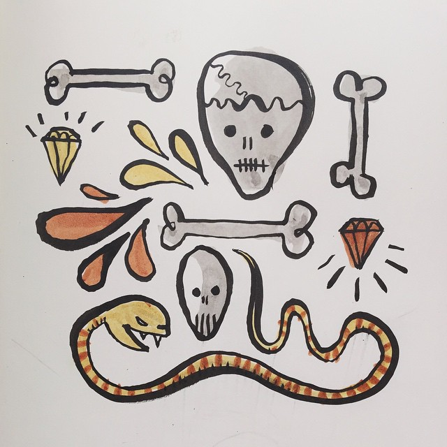 10/100 #100dayproject Another one drawn late last night and posted this morning. #11 later today. #ink #watercolor #winsornewton #brush #pentel #sketch #drawing #doodle #skull #snake #bones