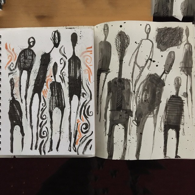 These are 2 separate sketchbooks with these creepy guys. They're so similar I just stacked the books and took the pic for the #100dayproject 42/100 #brush #ink #character #pentel #drawing #doodle