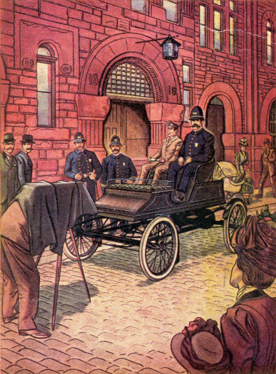 """The first city in the United States to use an automobile as a police cruiser was Boston. Placed in service at Station 16 in July, 1903, it covered about 60 miles a day through the Back Bay district. Chauffeur-Driven, a uniformed officer rode on a seat high enough """"to allow him to look over the back fences."""""""