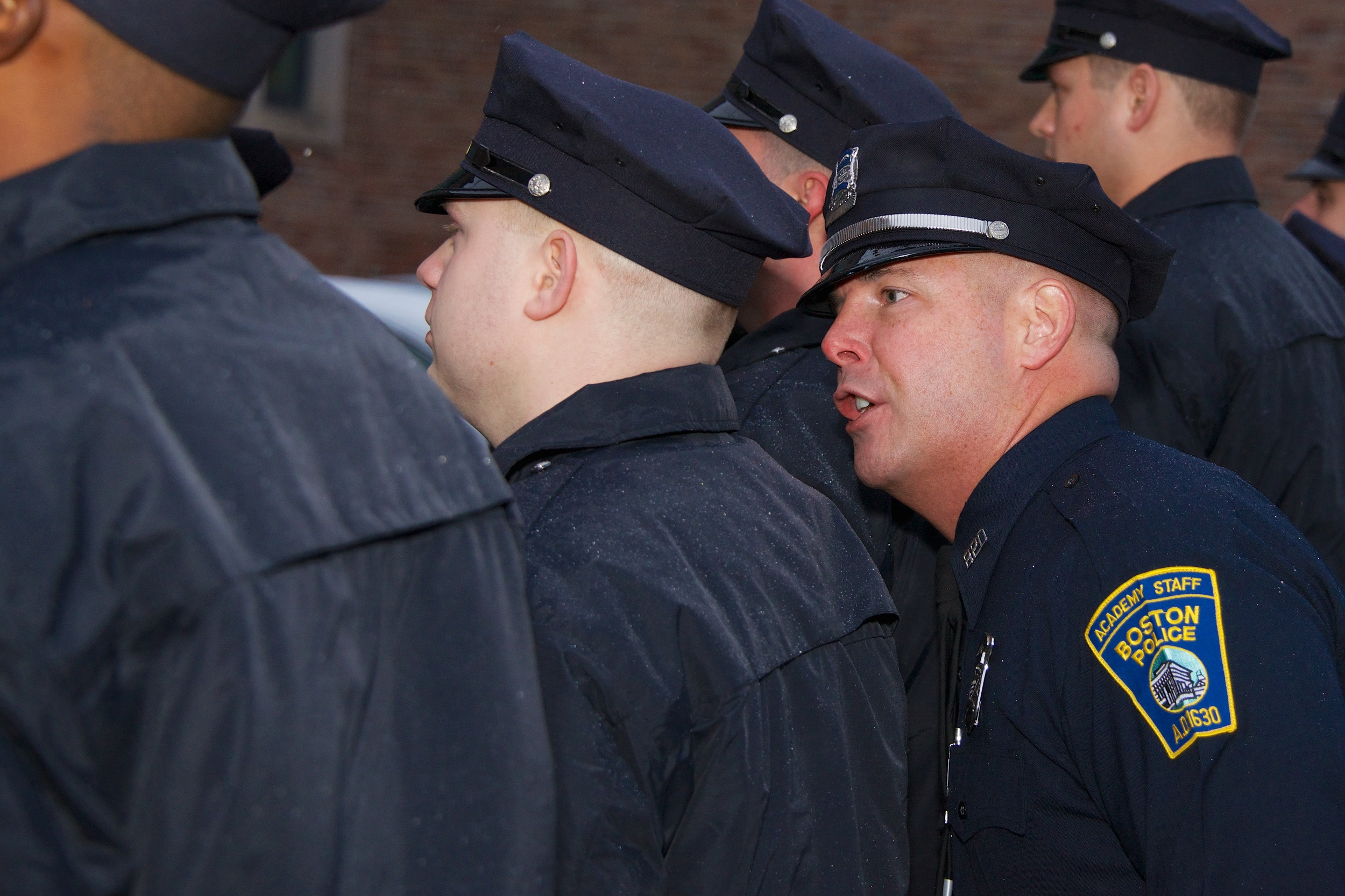 Police Officer John Ezekiel addressing members of Recruit Class 53-13 during the first week of Academy Training.