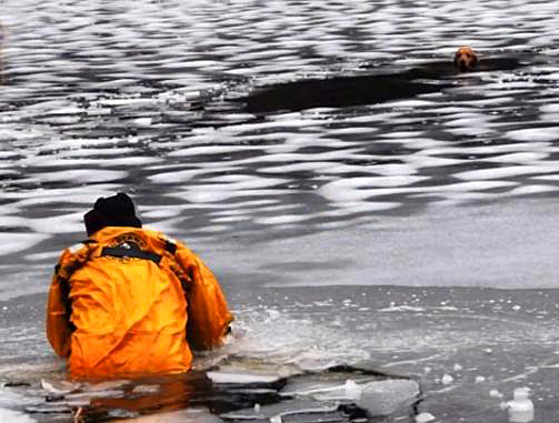 WATER SAFETY: FIRST RESPONDERS RECENTLY RESCUED A DOG AFTER FALLING THROUGH THE NOT SO FROZEN WATERS OF THE CHARLES RIVER IN WELLESLEY.