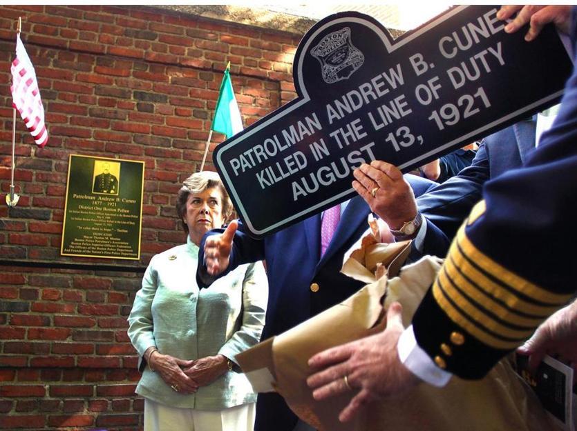A hero sign and memorial plaque were dedicated to Patrolman Cuneo in October of 2011