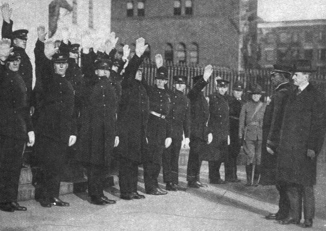 December 1919: Governor Calvin Coolidge swearing in replacement officers three months after the Boston Police Strike of 1919. (CALVIN COOLIDGE PRESIDENTIAL LIBRARY & MUSEUM, NORTHAMPTON, MA)