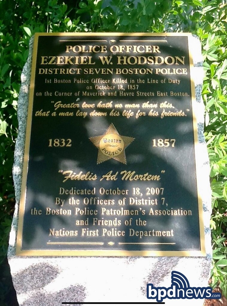 The Boston Police Department Remembers the Service and Sacrifice of Officer Ezekiel W. Hodsdon 164 Years Ago Today