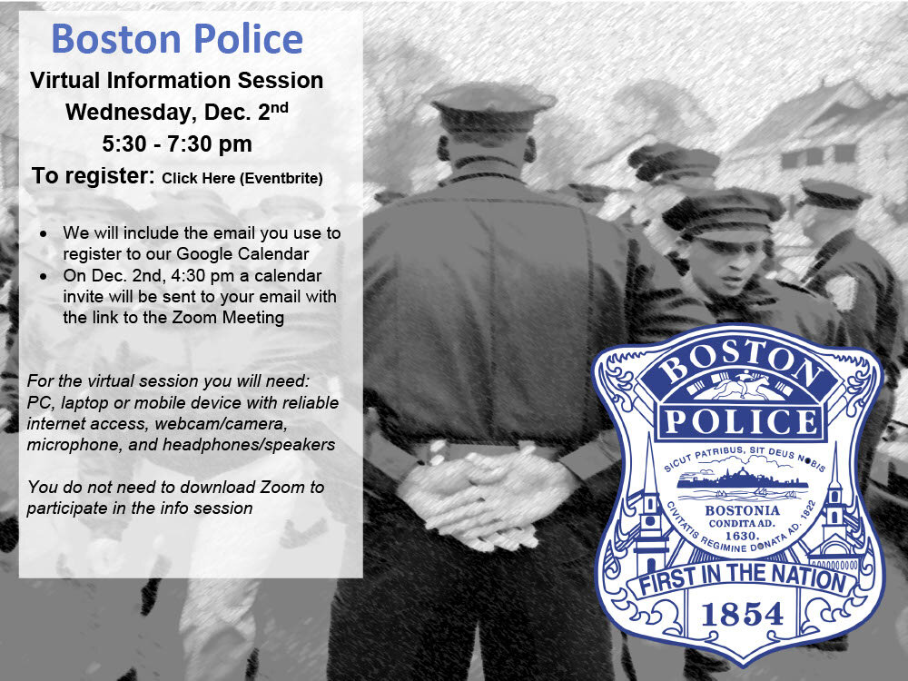BPD Virtual Hiring Informational Session Scheduled for this Wednesday, December 2, 2020