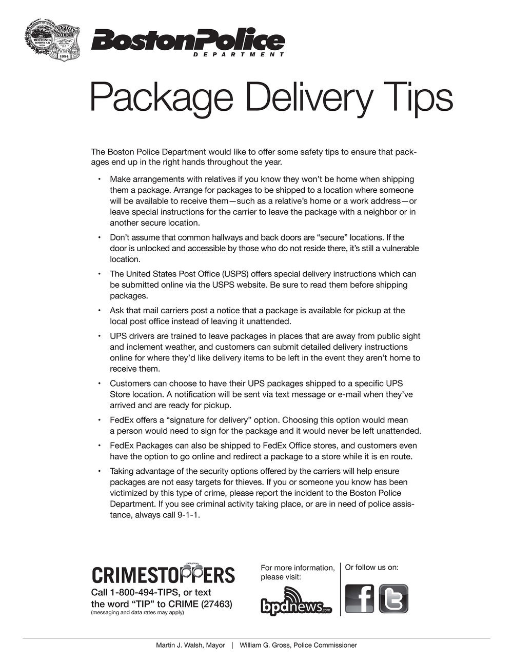 BPD Releases Safety Tips on How to Help Protect Yourself from Holiday Package Theft