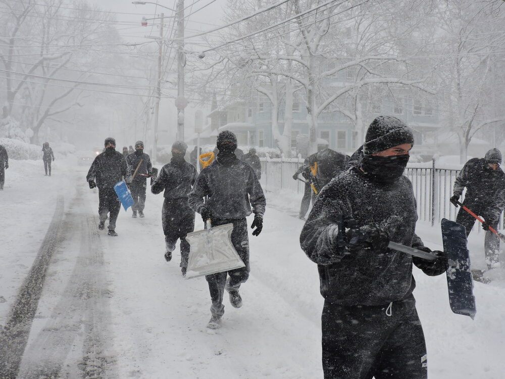 BPD in the Community: Recruit Class 60-20 Takes to the Streets to Shovel Snow in the Hyde Park Neighborhood