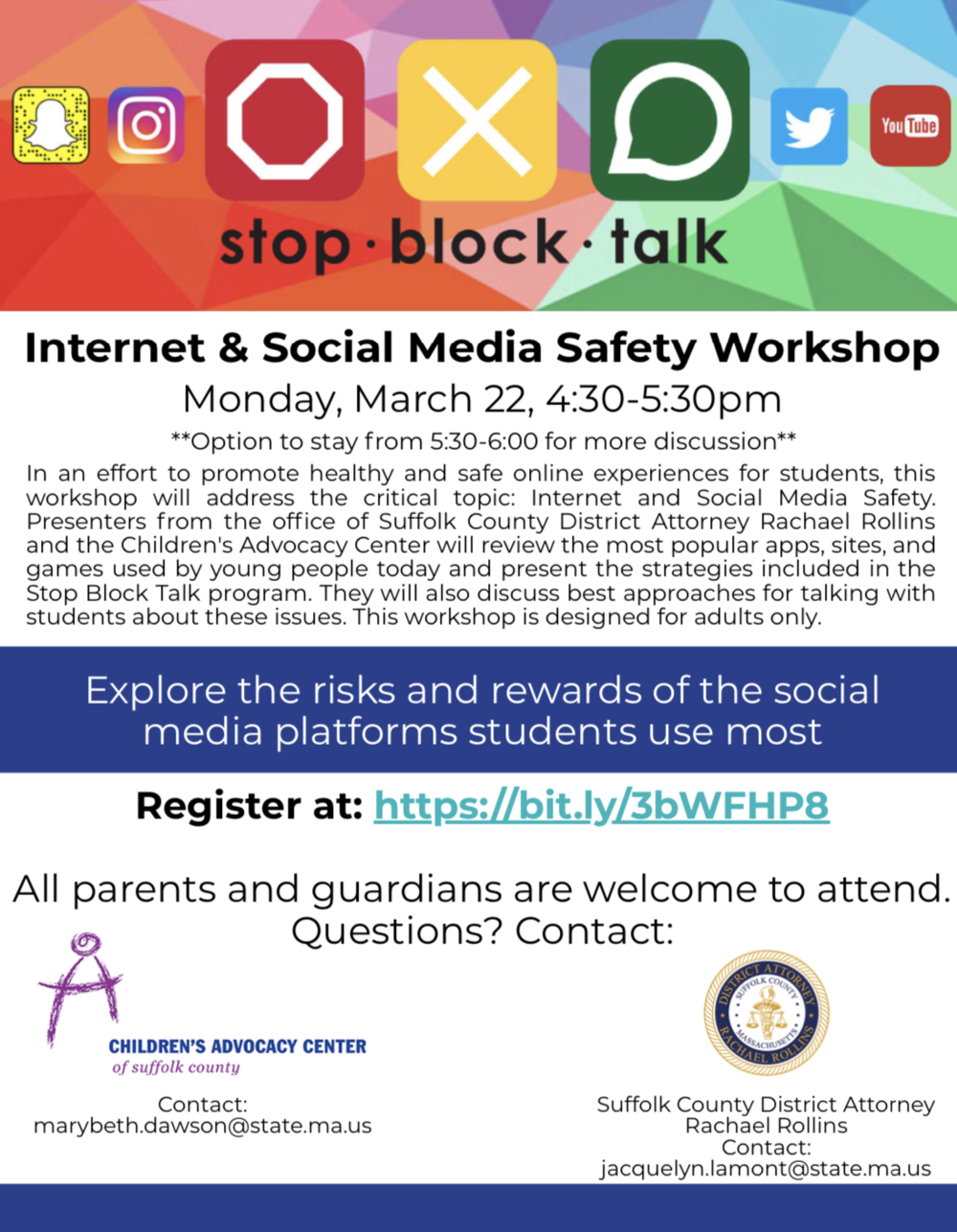 BPD in the Community: Upcoming Internet and Social Media Safety Workshop on Monday March 22, 2021