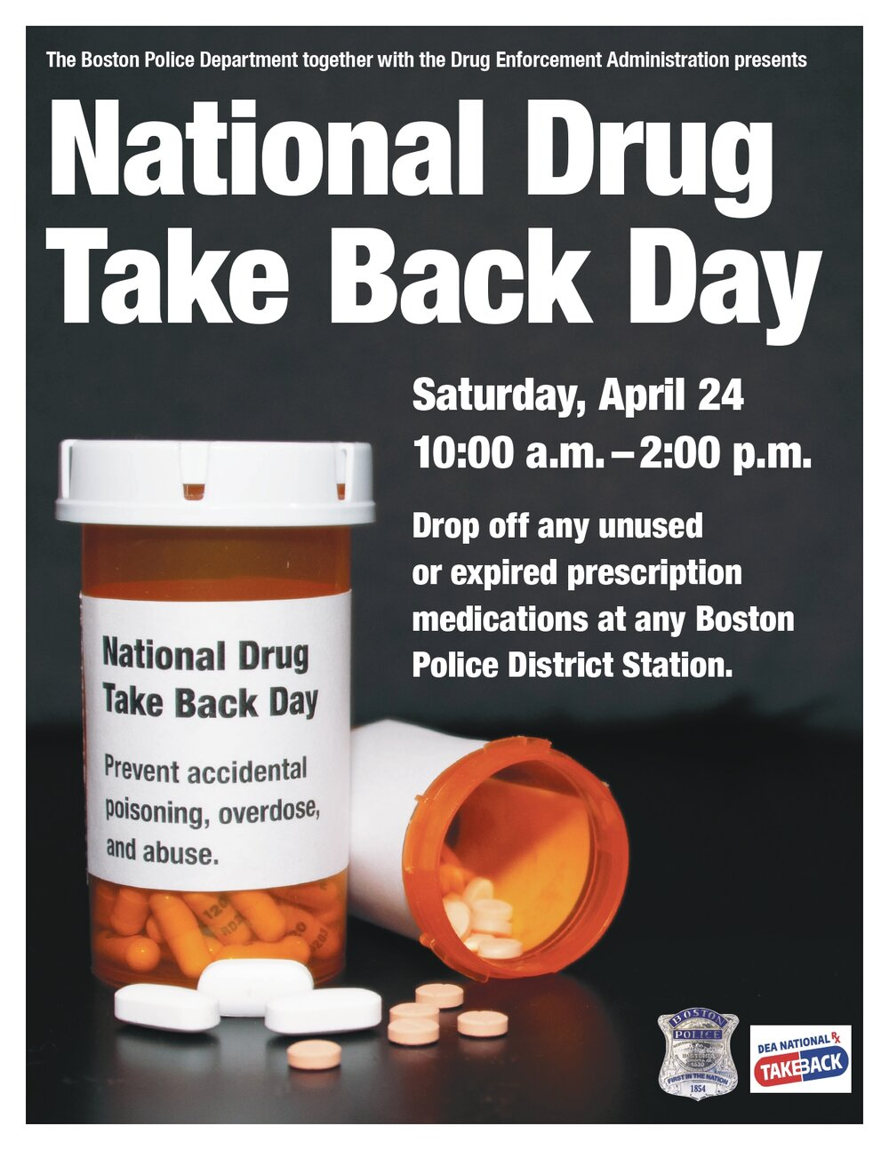 Safely Dispose of Expired Prescription Medications at Your Local District Police Station during National Drug Take Back Day on April 24, 2021, from 10:00 AM to 2:00 PM