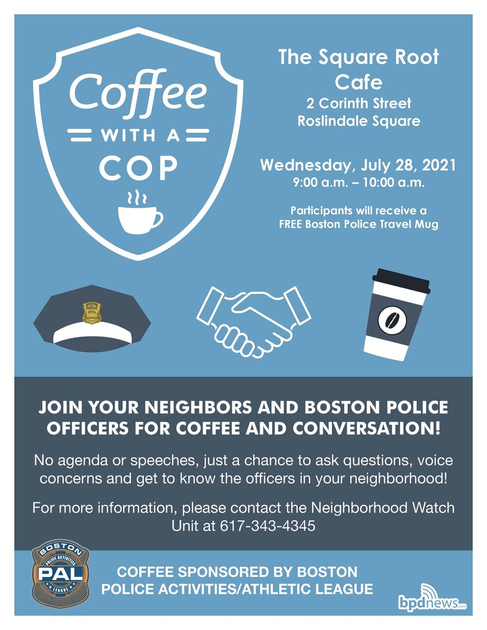 Coffee with a Cop is Stopping by Roslindale Square Next Wednesday