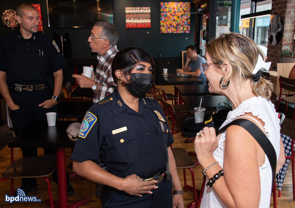 Coffee with a Cop Stops by The Square Root Café in Roslindale Square
