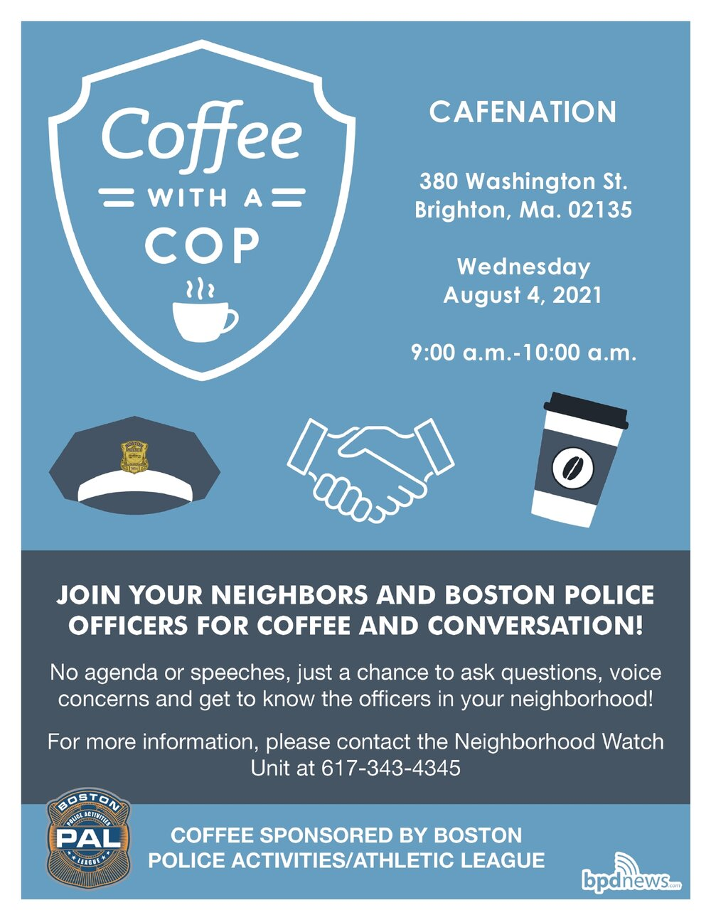 Coffee with a Cop: Please Join us on Wednesday, August 4, 2021 at Cafenation located at 380 Washington Street in Brighton