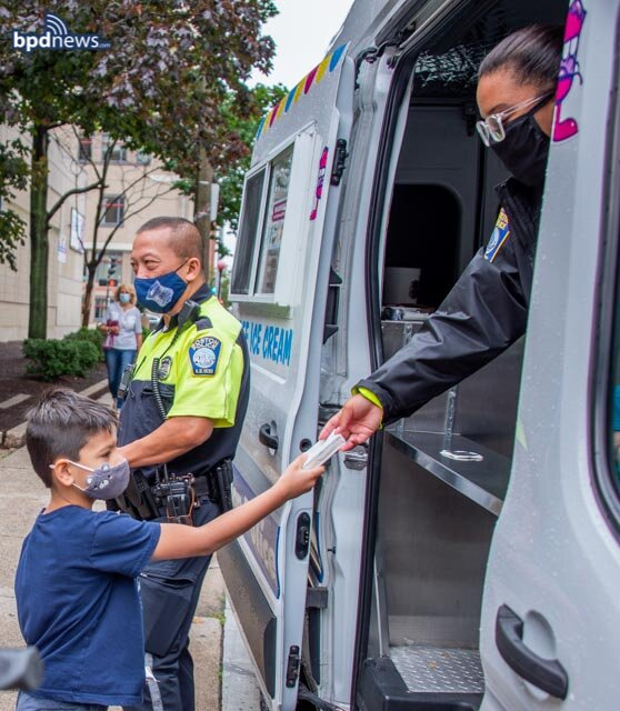 BPD in the Community: Plenty of Smiling Faces After the BPD Ice Cream Truck Stops by the YMCA in Chinatown