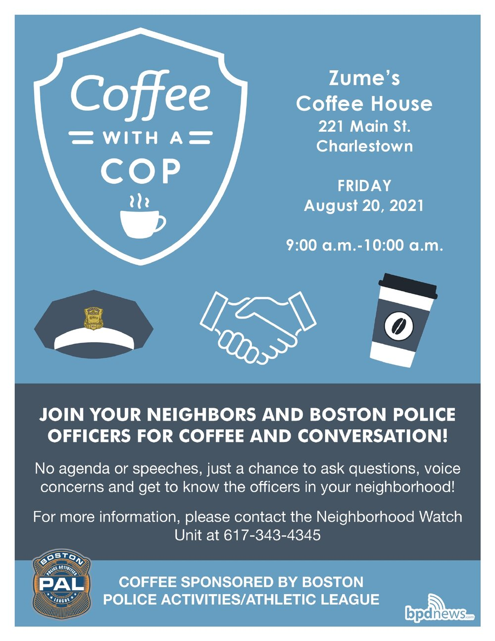 Coffee with a Cop: Please Join us at Zume's Coffee House at 221 Main Street in Charlestown on Friday, August 20, 2021