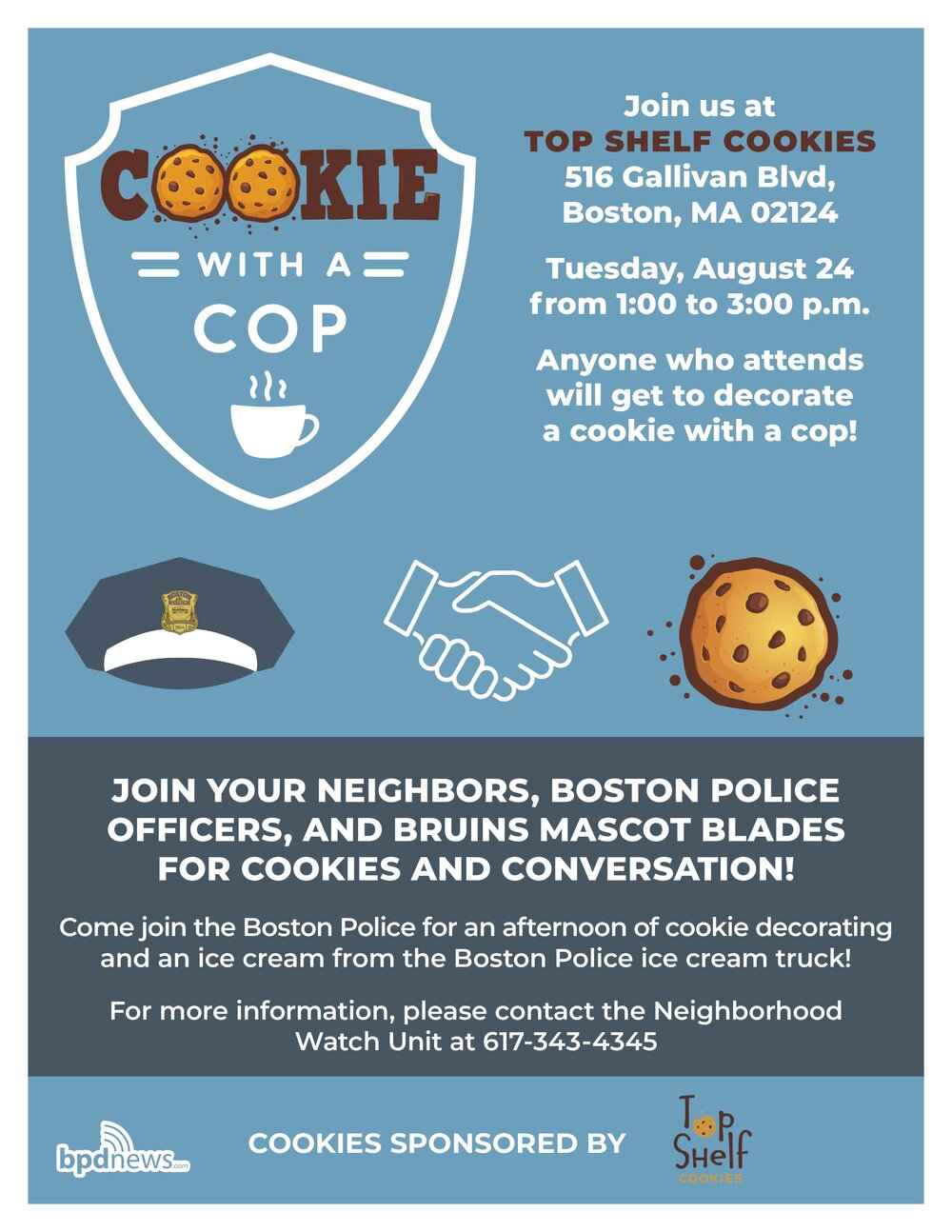 """Join us for """"Cookie with a Cop"""" at Top Shelf Cookies in Dorchester on Tuesday, August 24, 2021"""