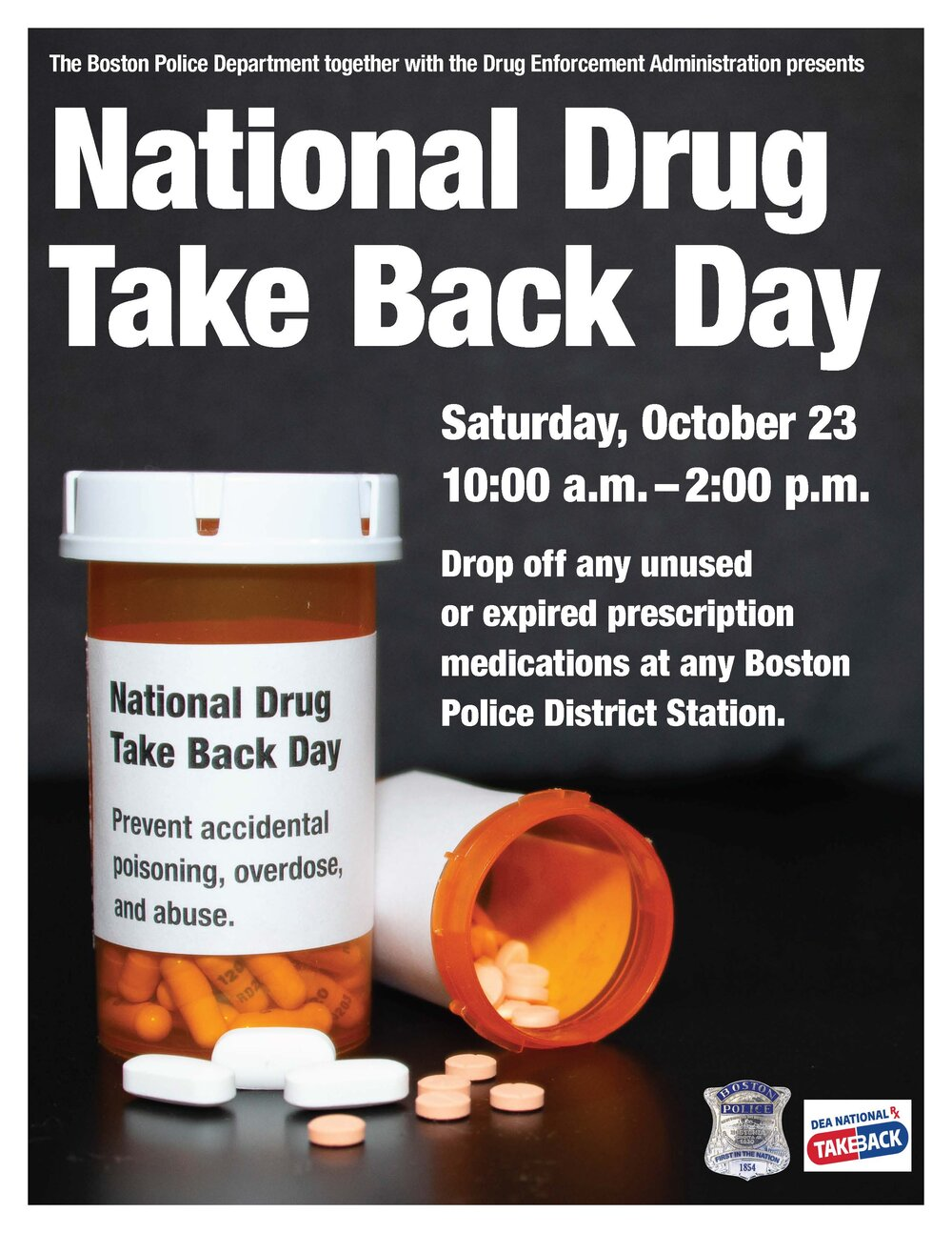Join the BPD and DEA for National Drug Take Back Day on Saturday, October 23, 2021