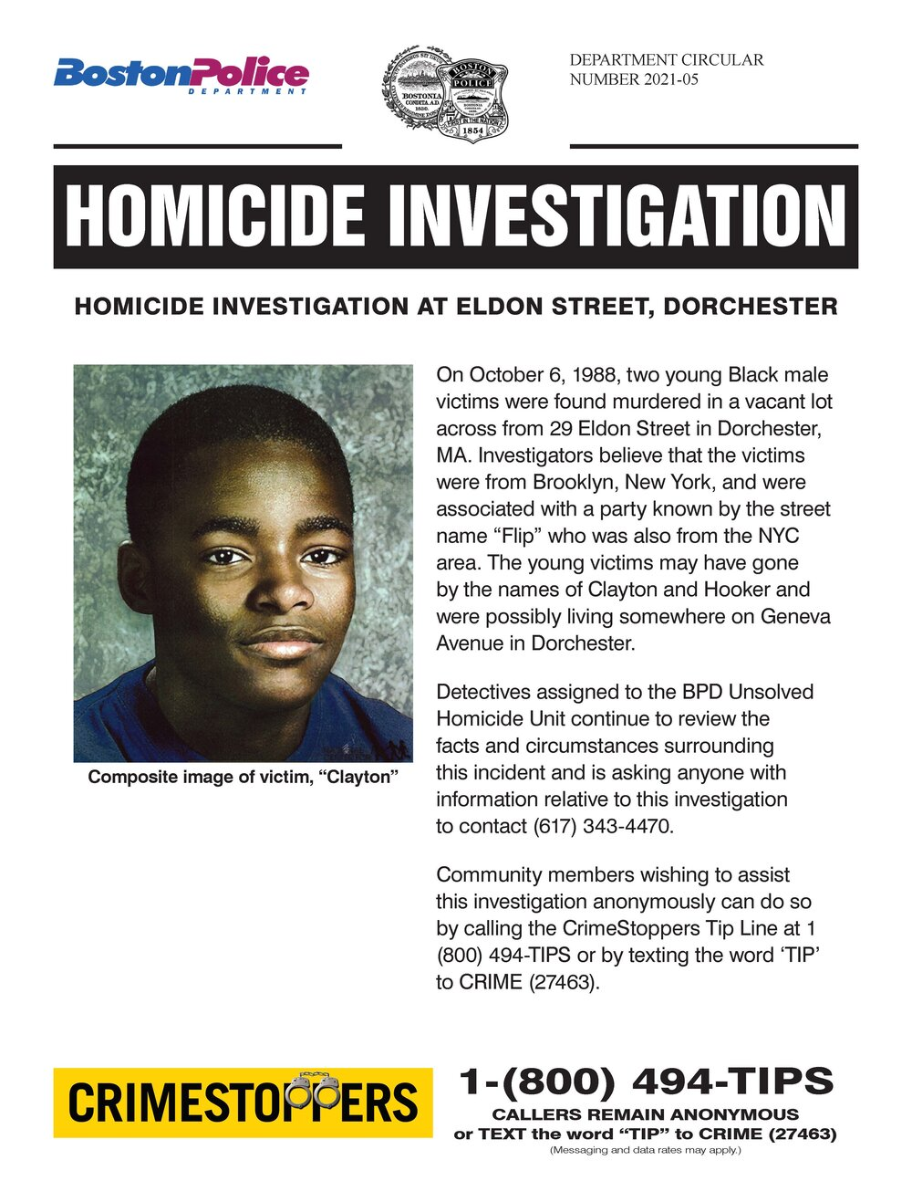 SEEKING INFORMATION: The BPD Homicide Unit Requests the Public's Help in Efforts to Solve Cold Case