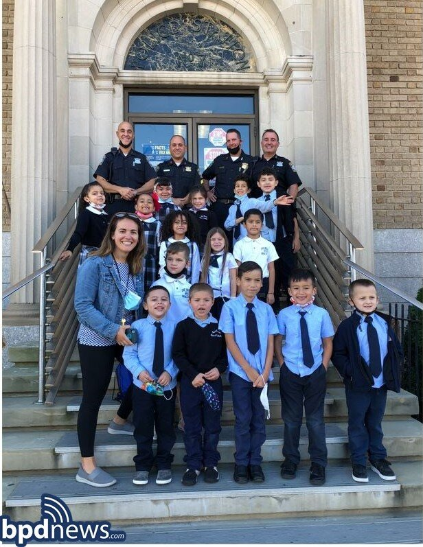 Officers Assigned to District A-7 Welcome Students from the East Boston Central Catholic School