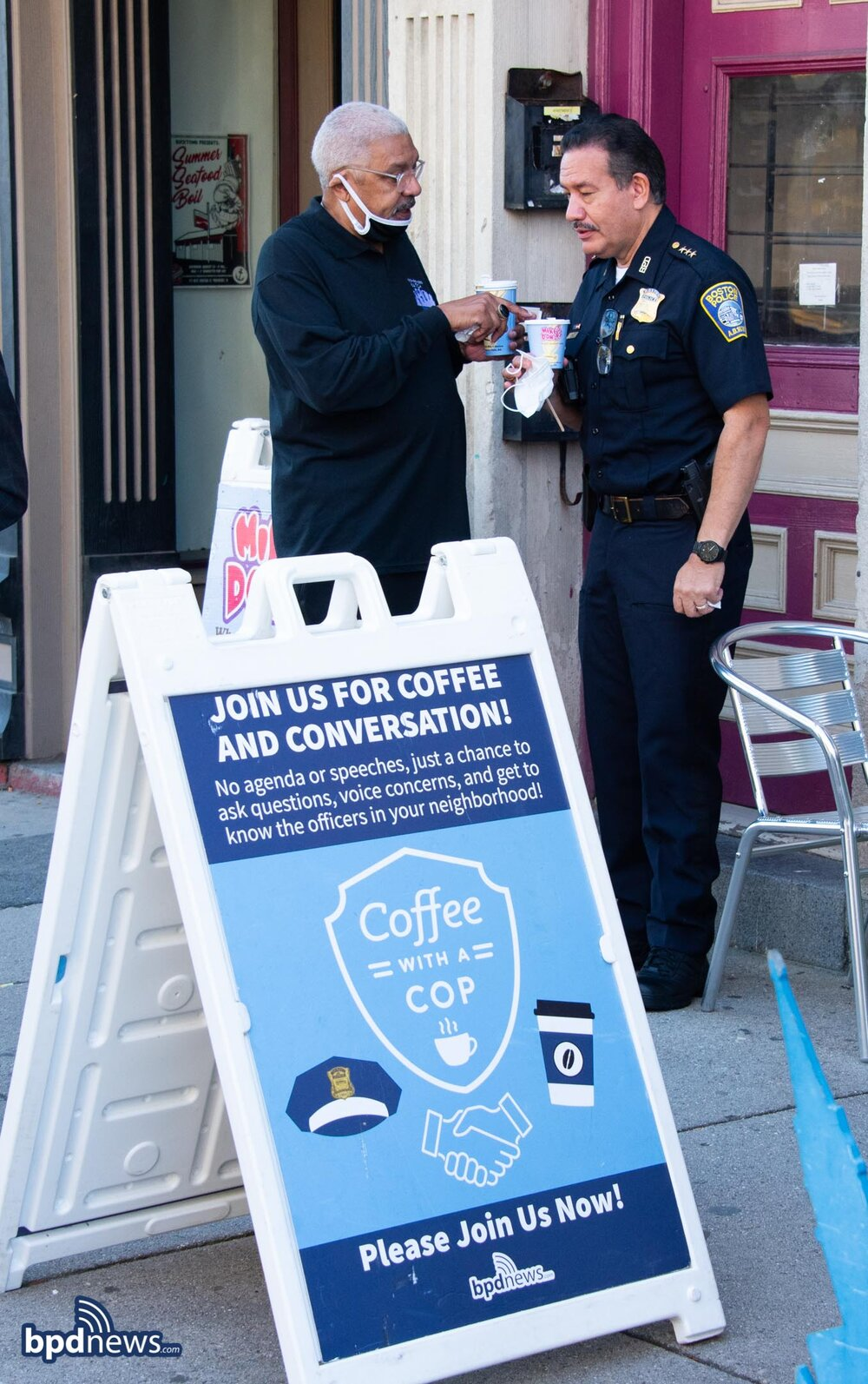 Coffee with a Cop Stops by Mike's Donuts in Mission Hill